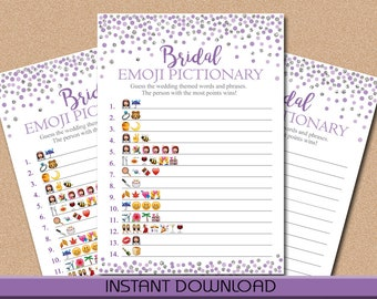 Emoji Pictionary Game, Bridal Shower Game Printable, Purple and Silver, Confetti, Wedding Shower Game, Instant Download, DIY