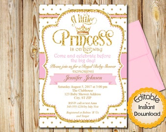 "Royal Princess Baby Shower Invitation, Girl, Pink and Gold, INSTANT download, EDITABLE in Adobe Reader, DIY, Printable, 5""x7"", RPPG1"