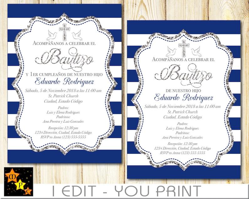 Spanisch Taufe Und 1 Geburtstagseinladung Alle Altersklassen Junge Navy Blau Und Silber Printable Diy Sbnbsf1