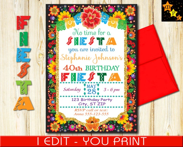 40th Birthday Invitation Mexican Fiesta Flowers Gold Glitter DIY Printable 5x7 Or 4x6