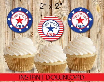 """4th July, Independence Day, Round Tags, Cupcake Toppers, Labels, Stickers, red, white, blue, Stars, DIY, Instant Download, 2"""""""