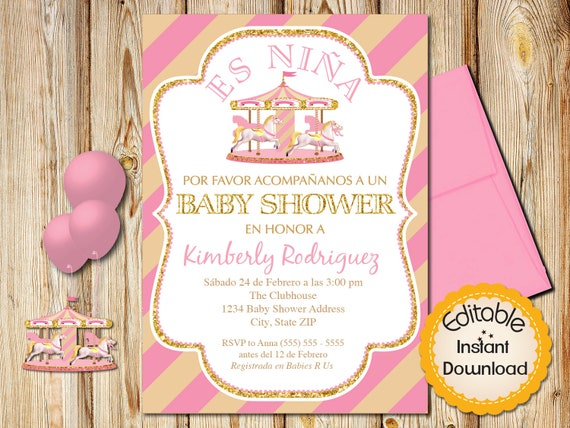 Spanish Baby Shower Invitation Girl Pink And Gold Carousel Etsy