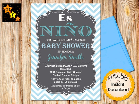 Spanish Baby Shower Invitation Boy Chevron Blue Editable Etsy