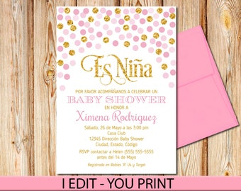 "SPANISH Pink and Gold Baby Shower Invitation, Girl, Baby shower Invite, Baby Girl, Printable, 5""x7"""