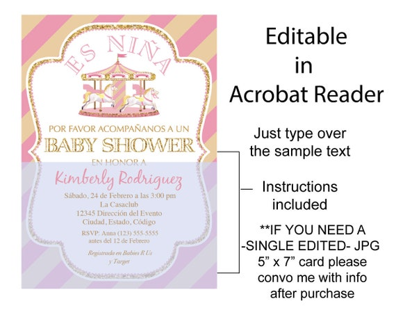 Spanish Baby Shower Invitation Girl Pink And Gold Carousel Instant Download Editable In Adobe Reader Diy Printable 5 X7