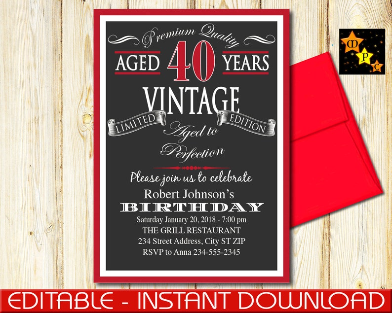 40th Birthday Invitation Aged To Perfection Vintage Black