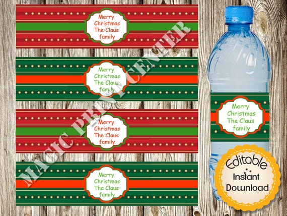 Christmas Water Bottle Labels Instant Download Editable In Etsy