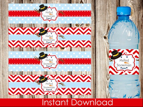 Printable Melted Snowman Water Bottle Label Christmas Water Etsy