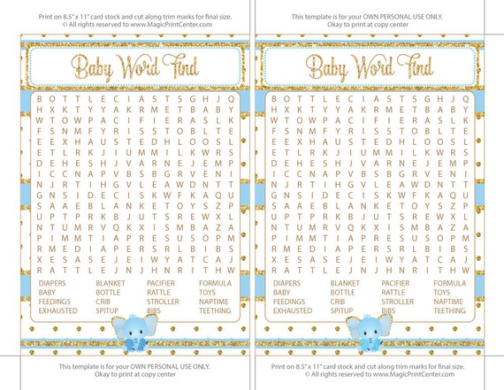 Baby Shower Word Find Popular Baby Shower Game Blue And Gold Etsy
