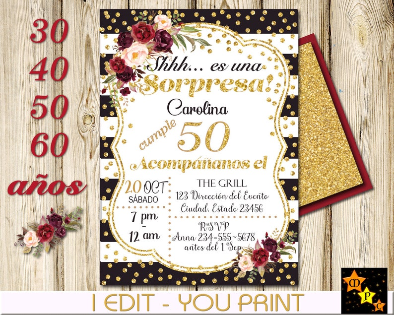 Spanish 50th 60th Birthday Surprise InvitationAny Age