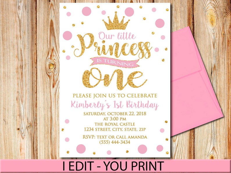 Pink And Gold Princess First Birthday Invitation Girl Invite Any Ages Dots Confetti Printable Digital File