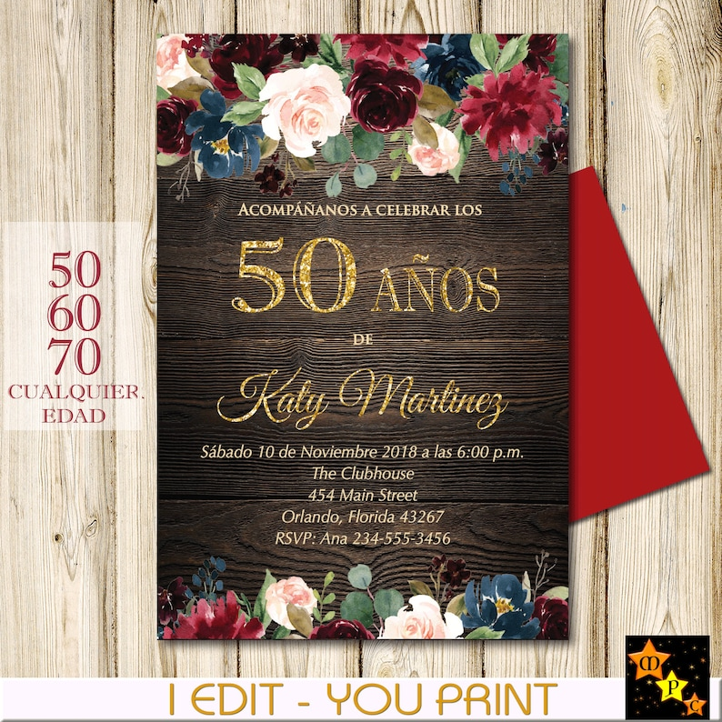 SPANISH 50th Birthday Invitation All Ages Floral Rustic
