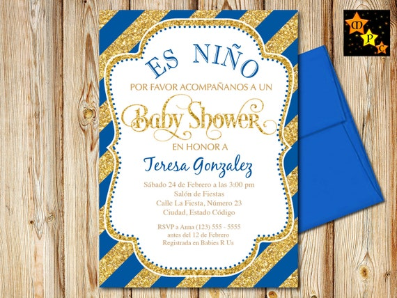 Spanish Baby Shower Invitation Boy Blue And Gold Diagonal Etsy