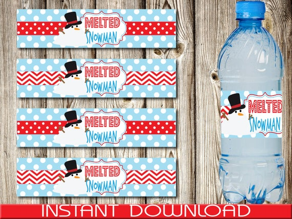 image about Melted Snowman Water Bottle Labels Free Printable known as Printable Melted Snowman Drinking water Bottle Label, Xmas Drinking water Bottle Label, Xmas Celebration, Immediate Obtain, Do-it-yourself