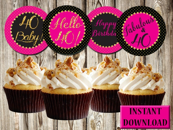 40th Birthday Cupcake Toppers Dark Pink Black And Gold Etsy