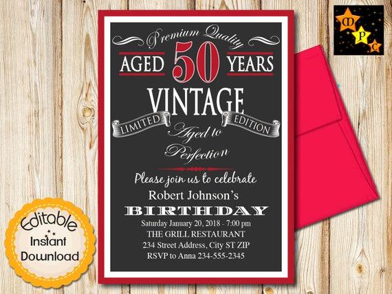 50th birthday invitation aged to perfection vintage black etsy image 0 filmwisefo