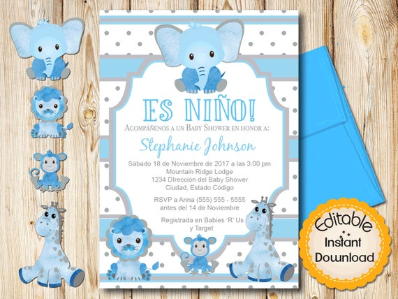 Spanish Safari Baby Shower Invitation Boy Blue And Gray Etsy
