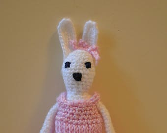 Crochet bunny rabbit, white bunny rabbit soft toy, amigurumi doll