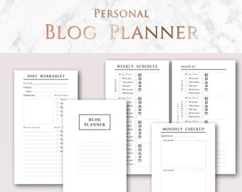Blog Planner, Printable Minimalist Planner | Personal size | Blog Post Worksheets, Yearly Stats, Blogging schedule, Contacts & Passwords