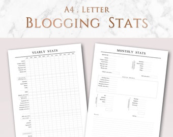 Printable Blogging Stats and Goals | A4 & US Letter | Minimalist Blog Planner Pages | Yearly and Monthly Stats, Yearly and Monthly Goals