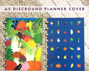 A5 size Discbound planner cover(fruits and vegetables illustration) for Atoma, ARC, Happy planner and etc..