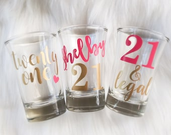 21st Birthday Shot Glass Party Favors Gift For Her 1997 Finally 21 Legal AF