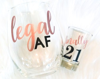 21st Birthday Shot Glass The Perfect Gift For Her Fully Customized Glitter