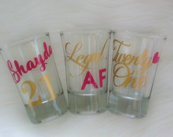 21st Birthday Gift For Her, 21st Birthday Wine Glass, Gift for Her, 21st Birthday Party Favors, 21st Birthday Decor, Shot Glass, Finally 21,