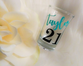 21st Birthday Gift For Her, 21st Birthday Party Favors, Personalized Shot Glass, 21st Birthday Shot Glass, 21st Birthday Decor, Gift for Her