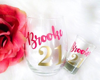 Set of 2, Personalized 21st Birthday Gift for Her, 21st Birthday Wine Glass, Shot Glass, Finally 21, Custom Wine Glass, Gift for Friend, 21