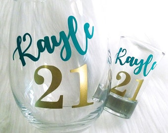 Set of 2, 21st Birthday Wine Glass, Wine Gift, 21st Birthday Gift for her, Wine Glass, Shot Glass, Personalized, Custom Glass, Finally 21,