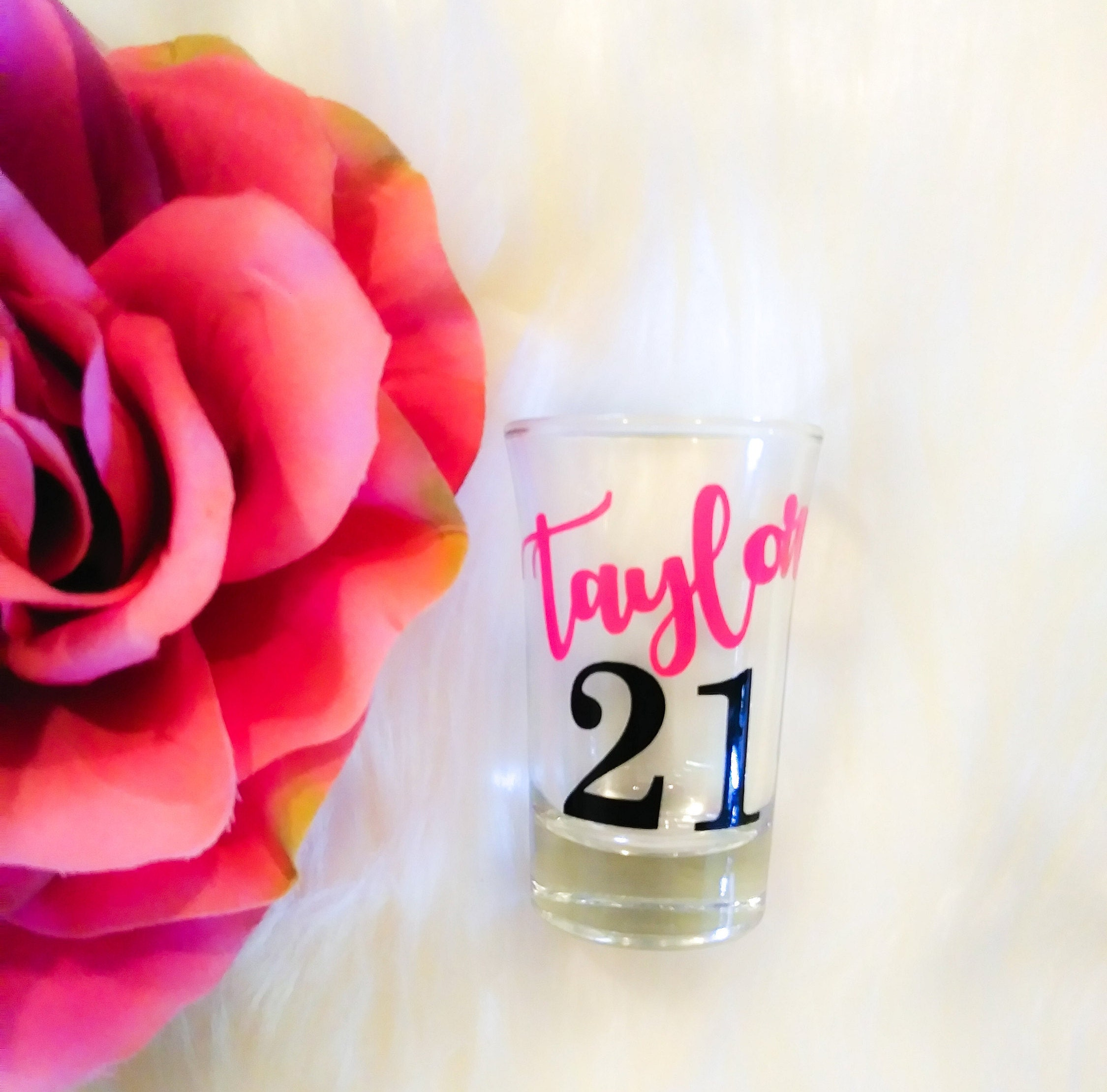 21st Birthday Gift For Her Personalized Shot Glass 21st Etsy
