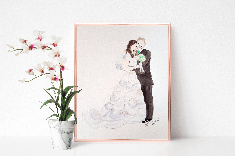 Custom Digital Watercolor Couples Portrait Wedding Couple | Etsy