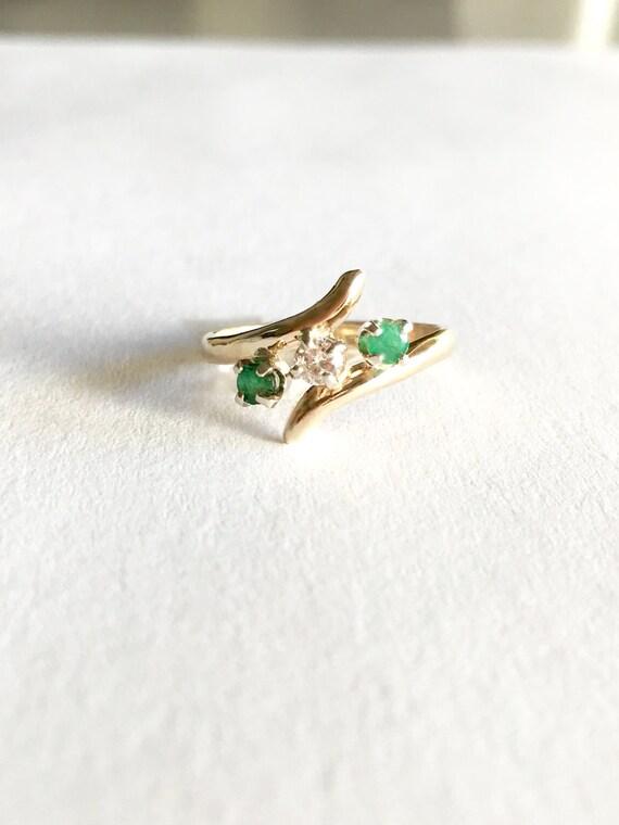 Vintage Emerald Ring, Diamond Emerald Rings, 14K G