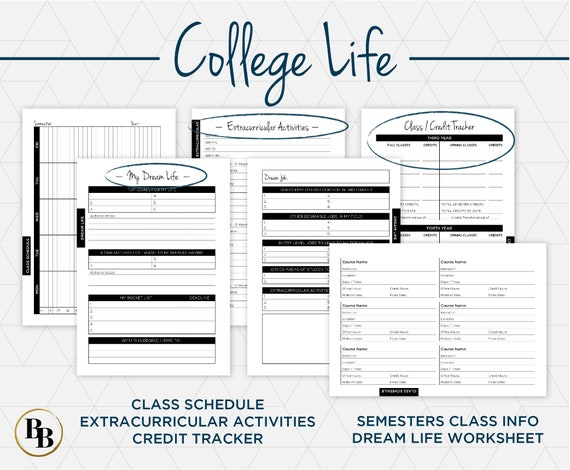 academic planner for college university students school etsy