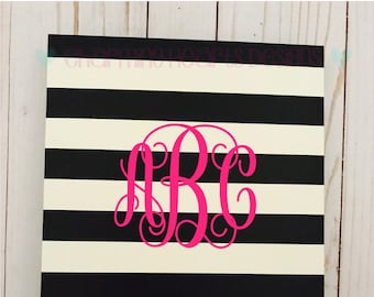 Monogrammed, personalized cream and black striped floral padfolio, clipfolio,  clipboard with memo pad