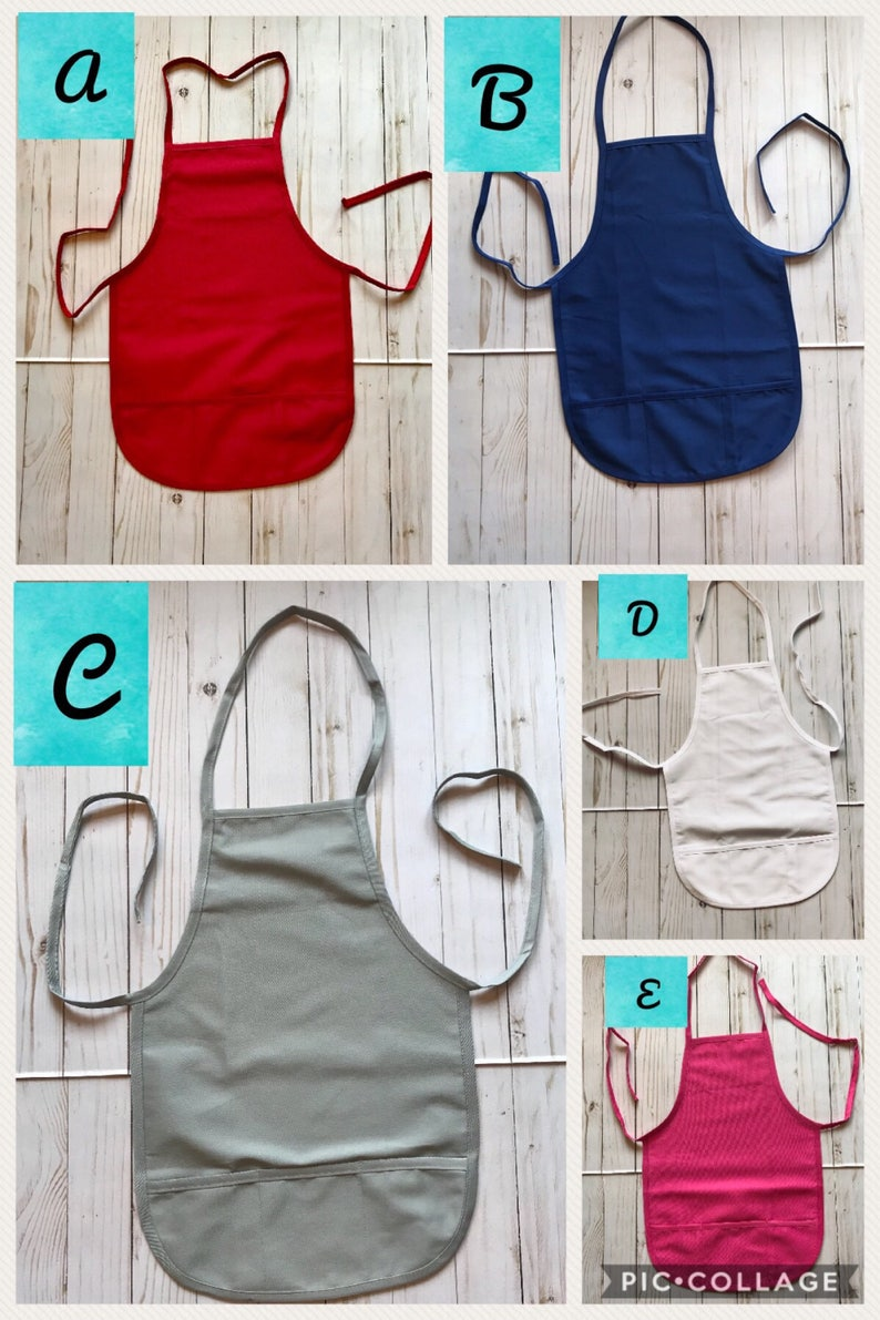 monogrammed apron personalized child chef apron child birthday gift child apron Childs apron personalized monogrammed child art apron