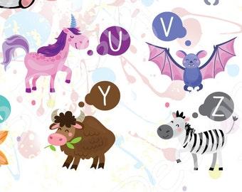 Animal Alphabet Art, Animal Nursery Art, Printable Alphabet, Illustrated Alphabet, Illustrated Letters, Nursery Wall Art, Kids alphabet ABC