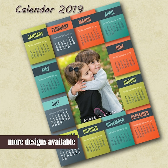 Family Photo 2019 Calendar Template Photo Calendar Template Etsy