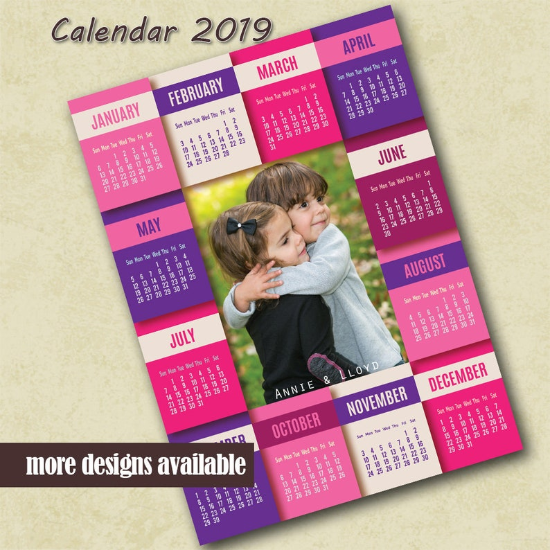 2019 Poster Calendar Template, Family Photo Calendar 2019 Template,  Calendar Photoshop Template, 2019 Photo Calendar Template Photo Calendar