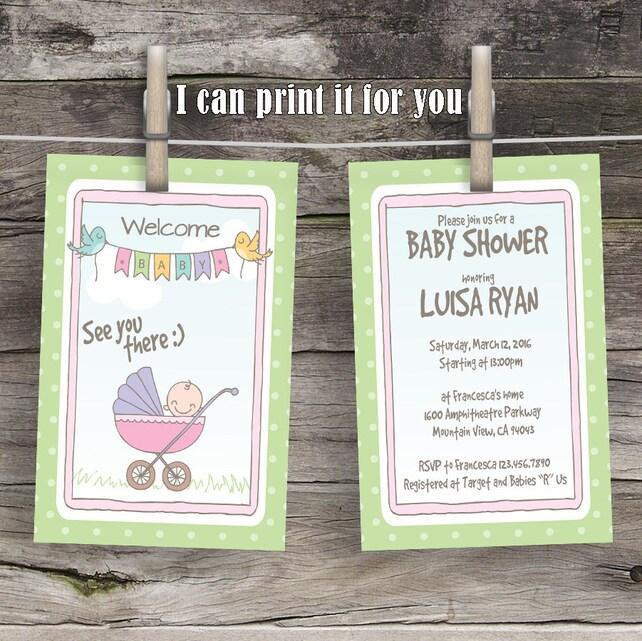 Cute Strollers Babyshower Invitations Custom Baby Shower Invitation