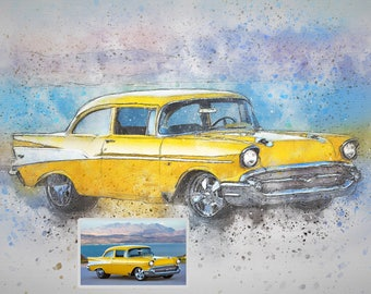 Custom Car Digital Drawing from Photo to Chalk Sketch from Picture to Custom Car Portrait Automobilia Drawing Truck Photo to Drawing of Car