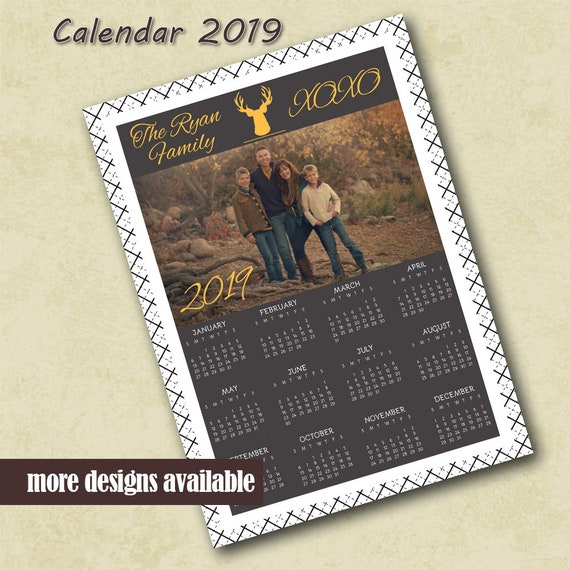 2019 Custom Photo Calendar Template With Reindeer Family Photo Etsy