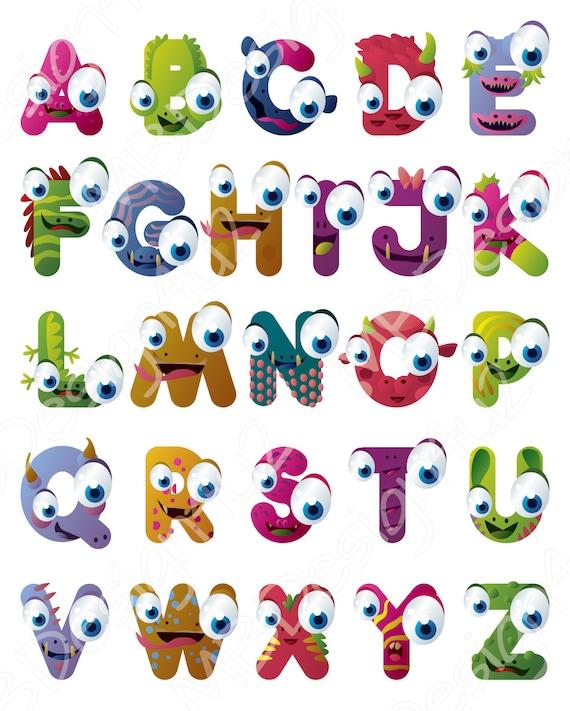 Monster Alphabet Art Brights Nursery Alphabet Poster | Etsy