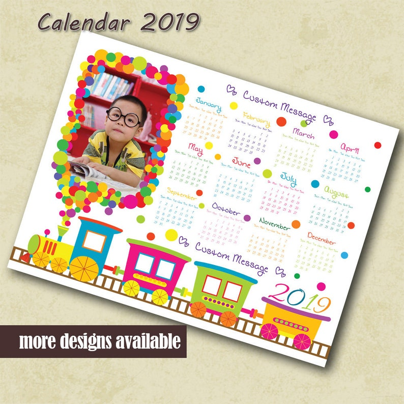 Kids Photo Calendar 2019 Template Calendar Custom Photo Calendar Nursery  Room Train Balloons Printable Calendar Custom PSD Calendar Template