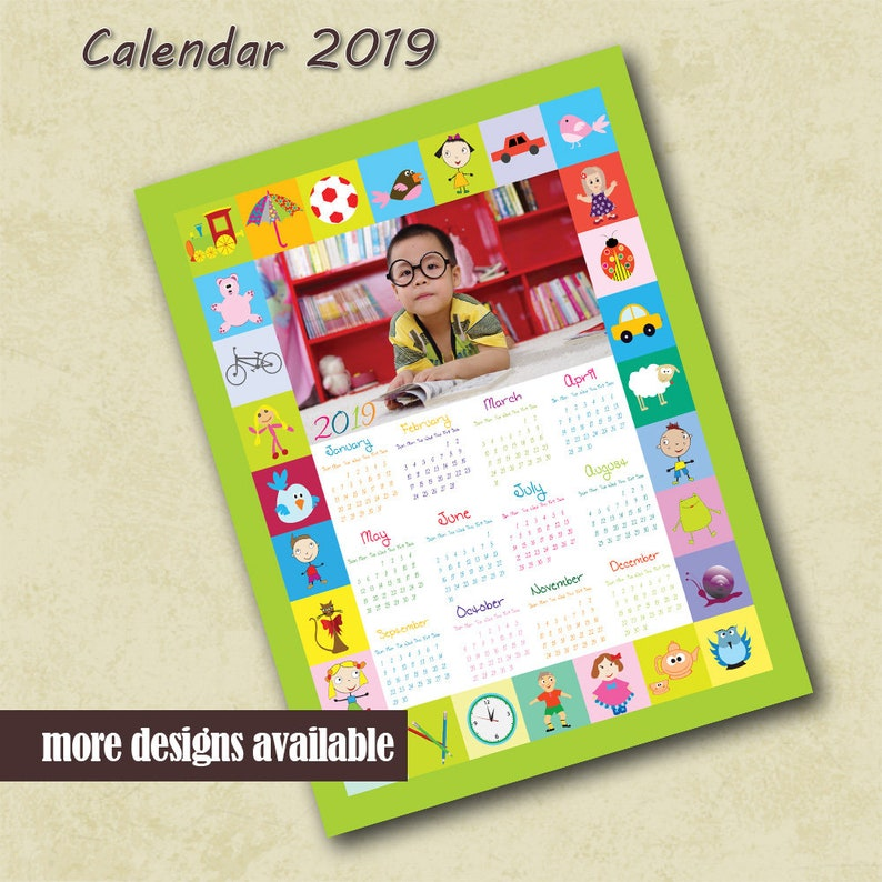 photo about Preschool Calendar Printable referred to as 2019 Customized Picture Calendar Youngsters Preschool Calendar Photographer PSD Template Calendar Children Printable Calendar Tailor made Calendar Template