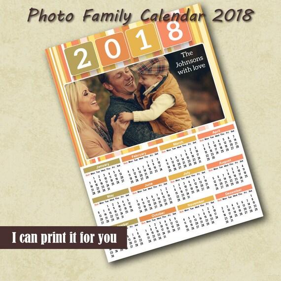 2018 Poster Calendar Template Family Photo Calendar 2018
