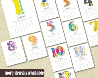 2018 Printable Wall Calendar Printable 2018 Calendar Geometric Design Printable Monthly Calendar Instant Download Calendar Housewarming Gift
