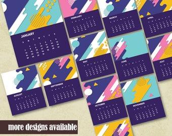 Printable Monthly Calendar 2018 Printable Wall Calendar Printable Office Calendar Instant Download Housewarming Calendar Geometric Design