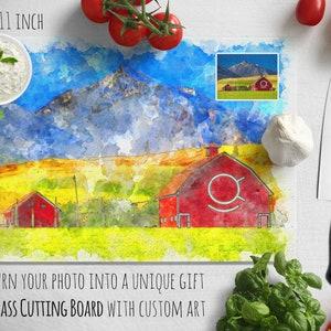 Glass Cutting Board Chopping Board Kitchen Decor Farmhouse Barn Portrait Moving Gift Realtor Gift Watercolor Painting Chef Gift Digital Art
